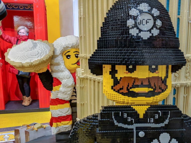 Large Lego models of a judge and British Bobby in the Leceister Square Lego store (before editing with AfterFocus Pro)